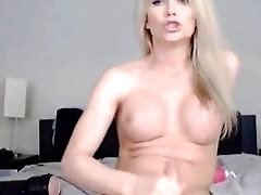 Busty Blonde Tranny Jerking...